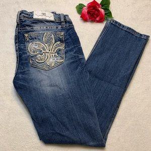 Miss Me Womens Sz 29 Mid Rise Cuffed Straight Jean